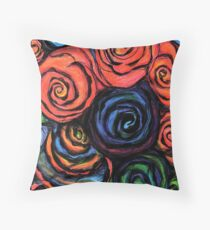 Swirly Roses In Pencil Throw Pillow
