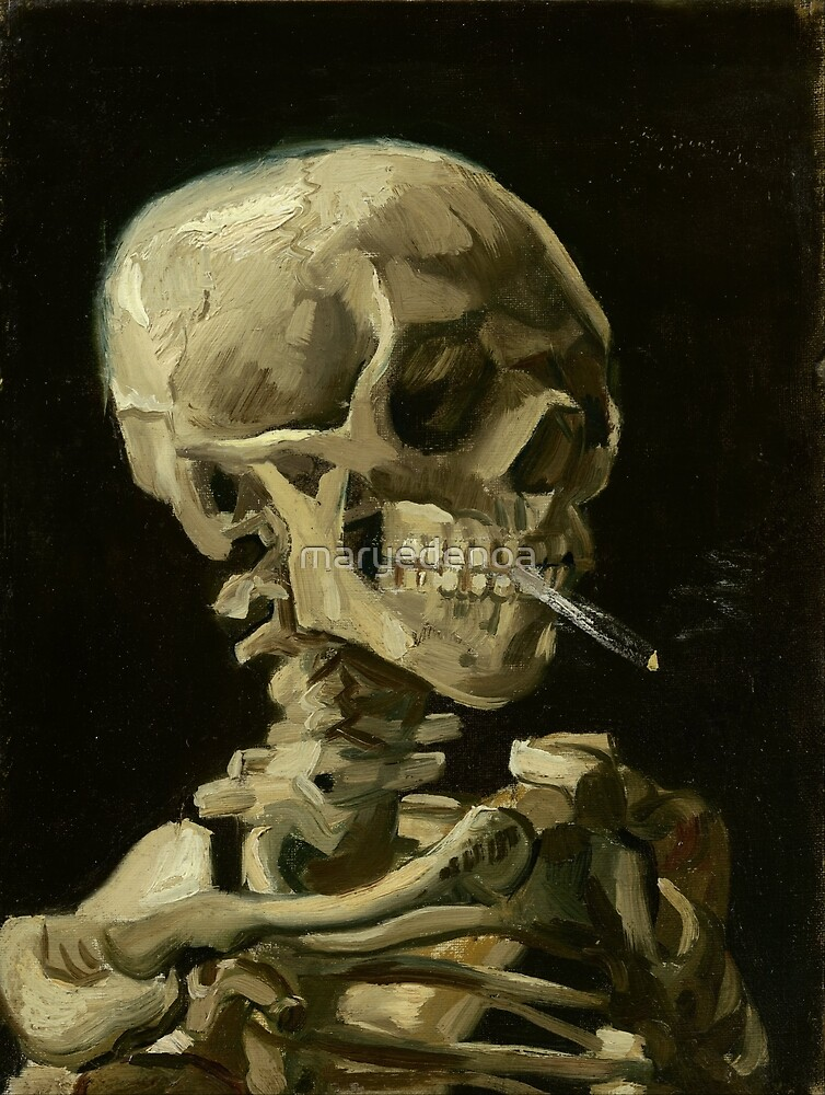 Skull Of A Skeleton With A Burning Cigarette - Vincent Van Gogh by maryedenoa