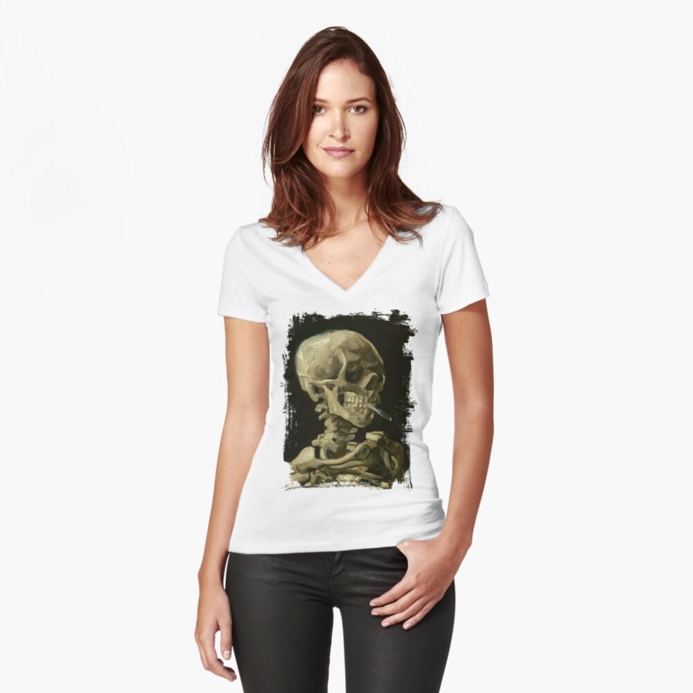 Skull Of A Skeleton With A Burning Cigarette - Vincent Van Gogh Women's Fitted V-Neck T-Shirt Front