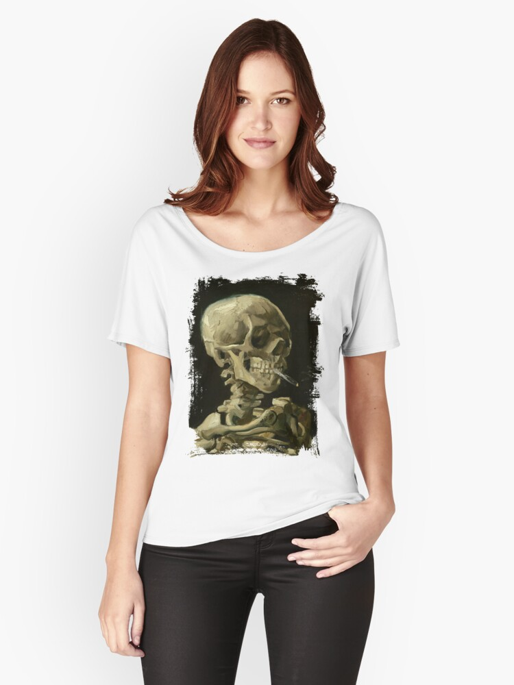 Skull Of A Skeleton With A Burning Cigarette - Vincent Van Gogh Women's Relaxed Fit T-Shirt Front