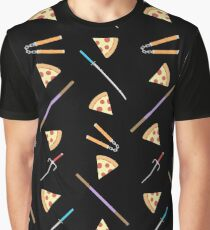 TMNT weapons and pizza (black) Graphic T-Shirt