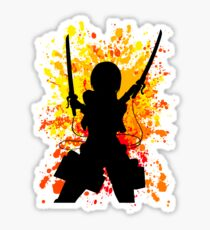 Mikasa Inspired Paint Splatter Anime Shirt Sticker
