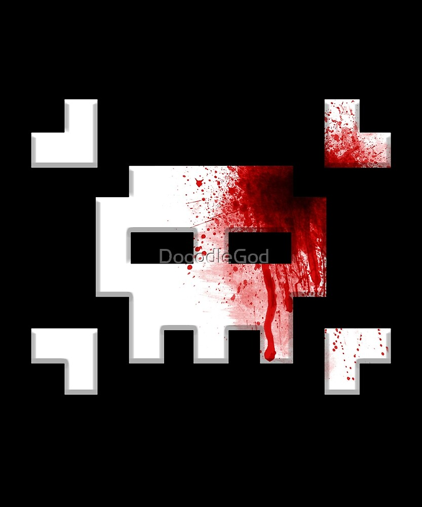 8-bit Retro Skull Crossbones Headshot Blood Splatter Funny by DooodleGod