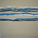 ochre and blue stripe abstract by Jonesyinc