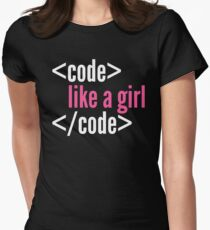 Code like a girl programming Womens Fitted T-Shirt