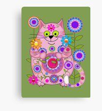 Cute Flower Power Cat Canvas Print