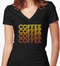 Coffee Stack - From Beans to Brew Women's Fitted V-Neck T-Shirt