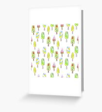Watercolor seamless ice cream pattern in bright summer colors Greeting Card