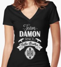 Team Damon Since Hello Brother. Women's Fitted V-Neck T-Shirt