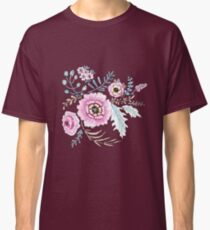 Seamless watercolor blue flowers pattern on white background Classic T-Shirt