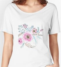 Seamless watercolor blue flowers pattern on white background Women's Relaxed Fit T-Shirt