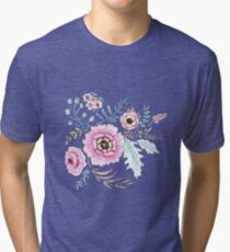 Seamless watercolor blue flowers pattern on white background Tri-blend T-Shirt