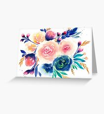Blue Purple Pink Peach Flower in Watercolor Painting Greeting Card
