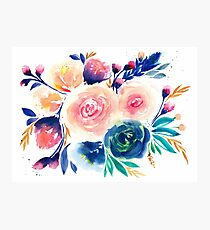 Blue Purple Pink Peach Flower in Watercolor Painting Photographic Print