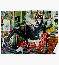 Jaded Girl With Kitty by John Howard Poster