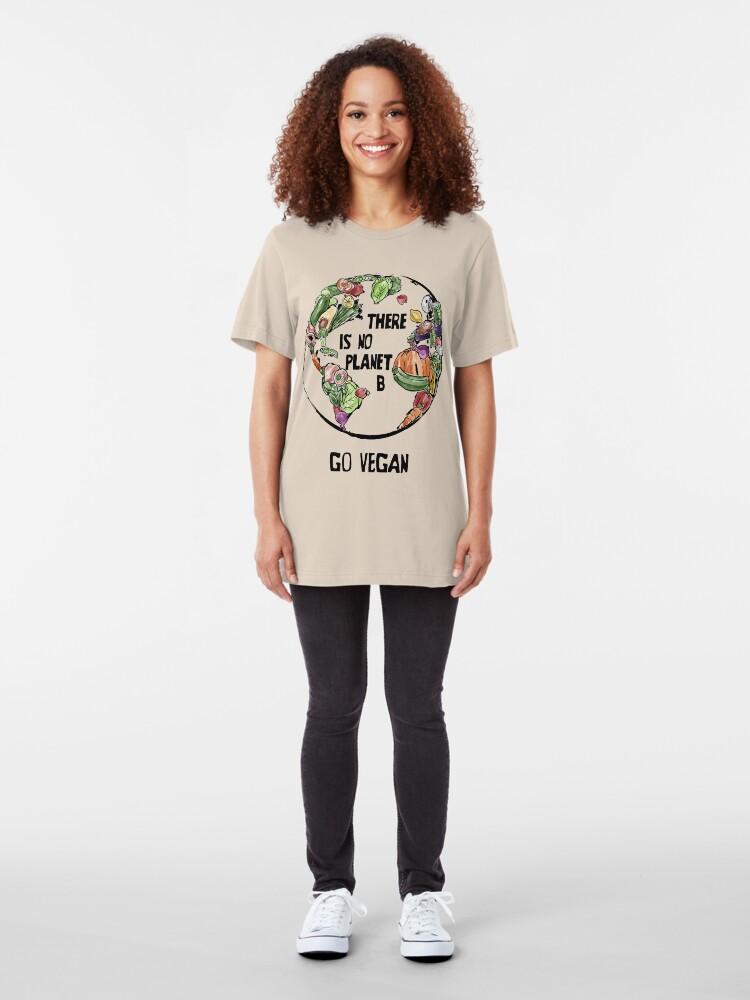 Alternative Ansicht von There is no Planet B - Go Vegan Slim Fit T-Shirt