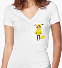 Pikachu girl Women's Fitted V-Neck T-Shirt