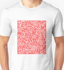 Spiral Swirls Coral Happy Glow  Unisex T-Shirt