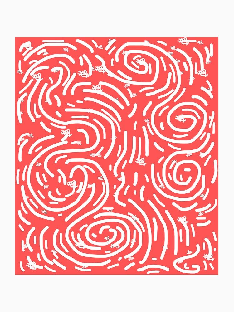 Spiral Swirls Coral Happy Glow  by PurpleLoxe