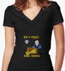 Magic Bananas [Yellow Font] Women's Fitted V-Neck T-Shirt