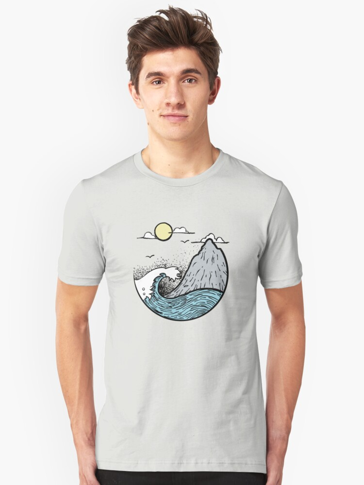 Ocean Waves Under The Mountain Unisex T-Shirt Front