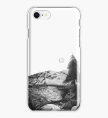 Black and White Ink mountain landscape  iPhone Case/Skin
