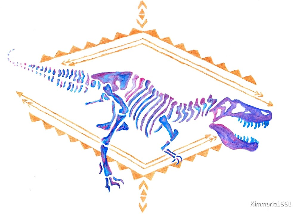 T-Rex Watercolour with Gold by Kimmarie1991