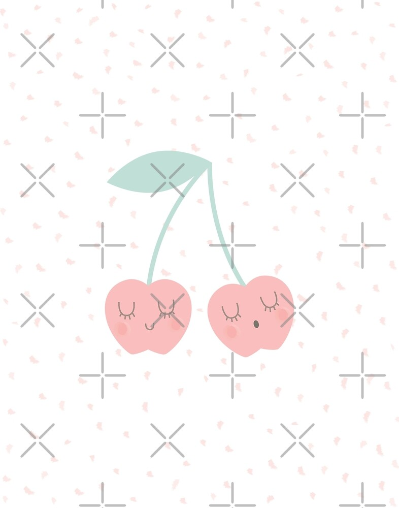 Kawaii Pastel Cherries Cherry Sweet Baby, Toddler, Girls, Graphic Art Print by DesIndie