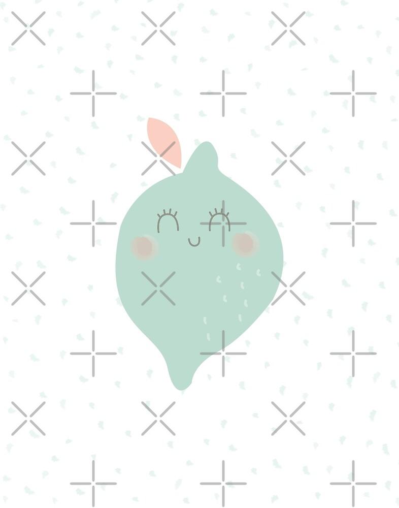 Sweet Soft Pastel Kawaii Minty Green Lime Polkadots Baby Girl Toddler Teen Art Nursery Print by DesIndie