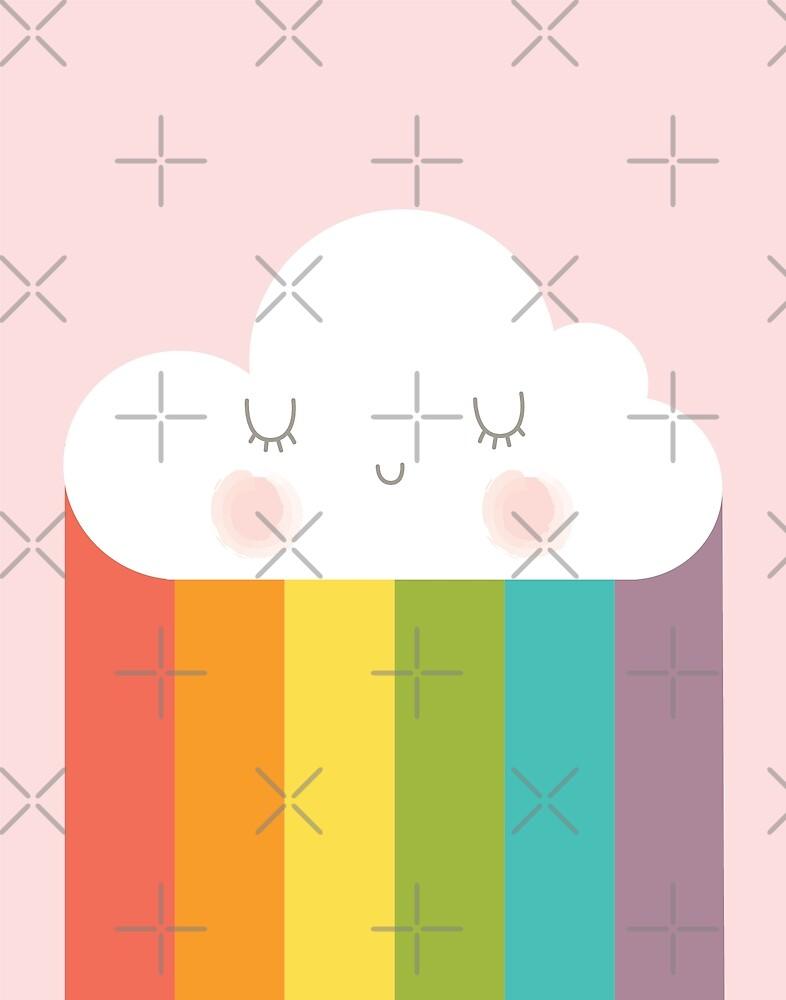 Rainbow Cloud Kawaii Rain Soft Pastel Pink Print by DesIndie