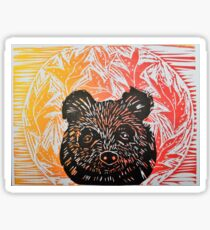 Brown Bear lino print in autumn leaves   Sticker