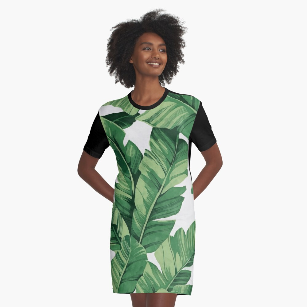 Tropical banana leaves Graphic T-Shirt Dress Front