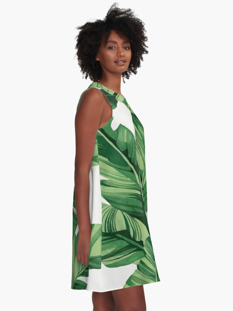 Alternate view of Tropical banana leaves A-Line Dress