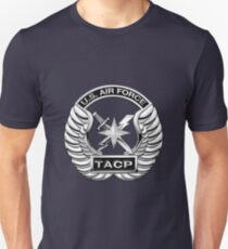 U.S. Air Force Tactical Air Control Party - USAF TACP Crest over Blue Velvet T-Shirt