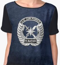 U.S. Air Force Tactical Air Control Party - USAF TACP Crest over Blue Velvet Chiffon Top
