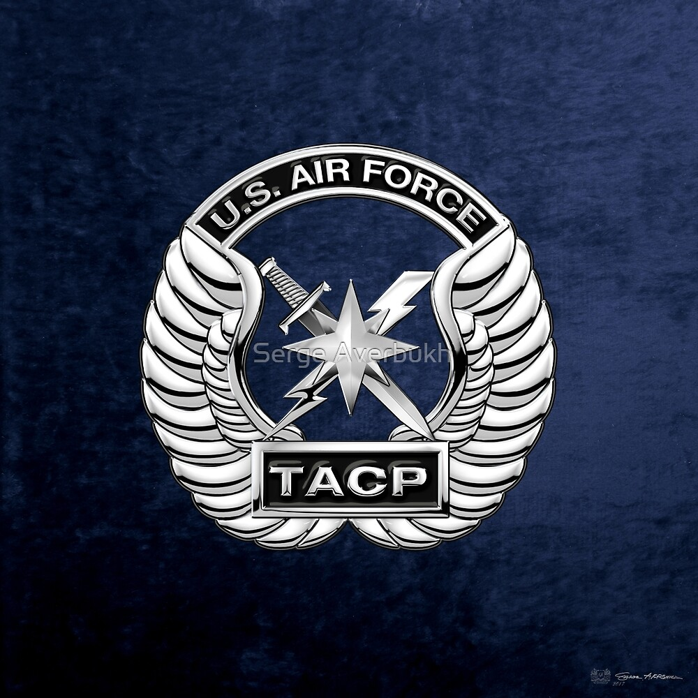 Tactical Air Control Party - TACP Beret Flash With Crest over Blue Velvet by Serge Averbukh