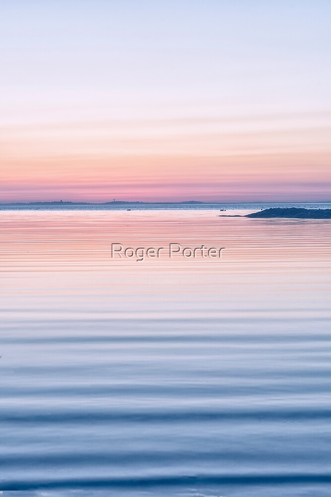 Pastel ripples sea and sky by Roger Porter