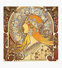 Alphonse Mucha Zodiac Art Nouveau Woman Photographic Print