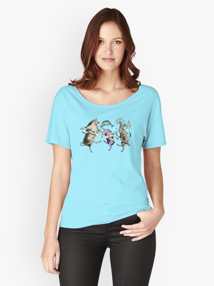 Whimsical Dancing Cow Pig Deer and Fish Women's Relaxed Fit T-Shirt Front