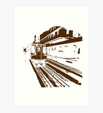Brown Line Train-ing Stencil  Art Print