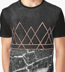 Elegant Rose Gold Triangles & Black & White Marble Graphic T-Shirt