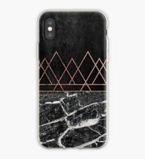 Elegant Rose Gold Triangles & Black & White Marble iPhone Case