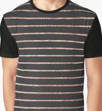 Elegant Chic Rose Gold Stripes and Black Graphic T-Shirt