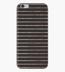 Elegant Chic Rose Gold Stripes and Black iPhone Case