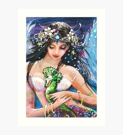 The Emerald Seahorse Art Print