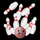 Ten-pin bowling strike by piedaydesigns