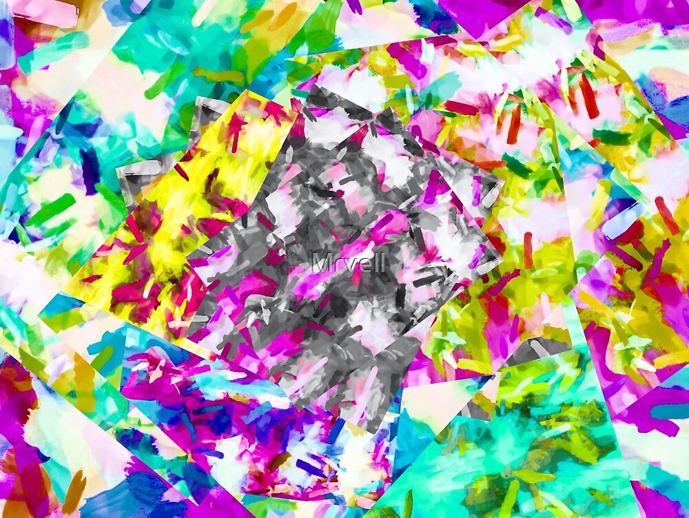 psychedelic splash painting abstract in pink blue yellow green purple by Mrvell