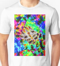 psychedelic splash painting abstract in blue green orange pink brown T-Shirt
