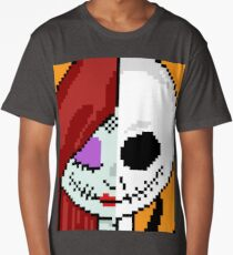 """Matching """"The Face of Love"""" - NMBC, Nightmare Before Christmas, Couple, Cute, Jack, Sally, Finkelstein, Skellingon, King, Queen, Pumpkin, Love, Couple, Romantic, Split, Face, Just the Two of Us Long T-Shirt"""