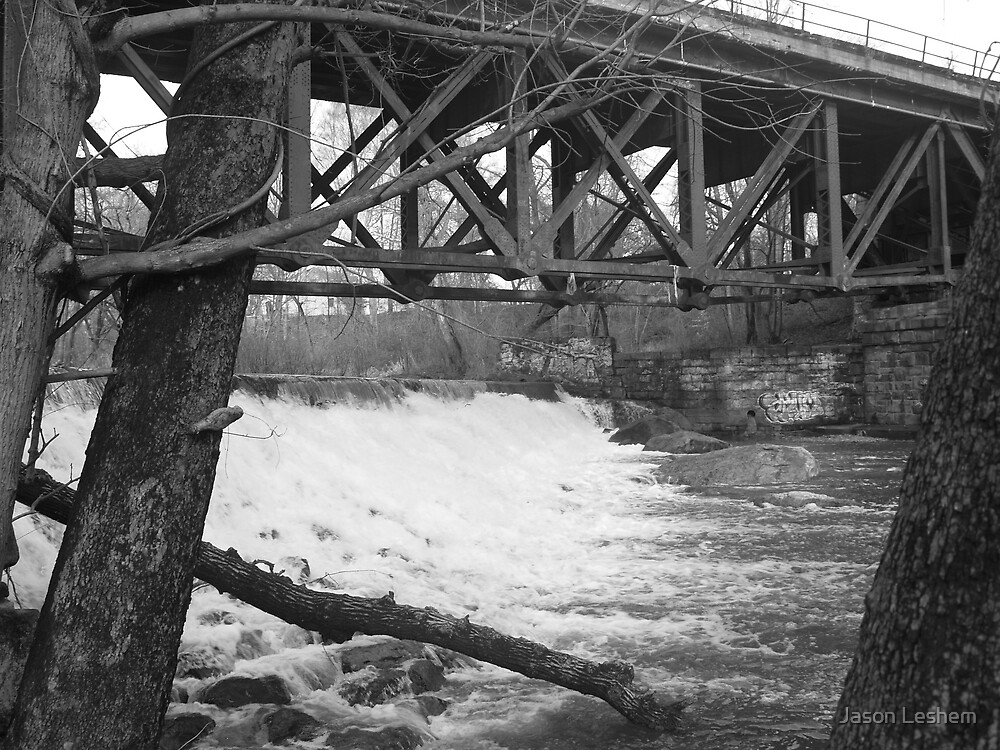 Bridge with Waterfall by Jason Leshem